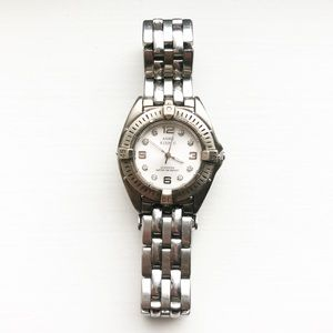 Vintage Anne Klein silver & diamond accent watch